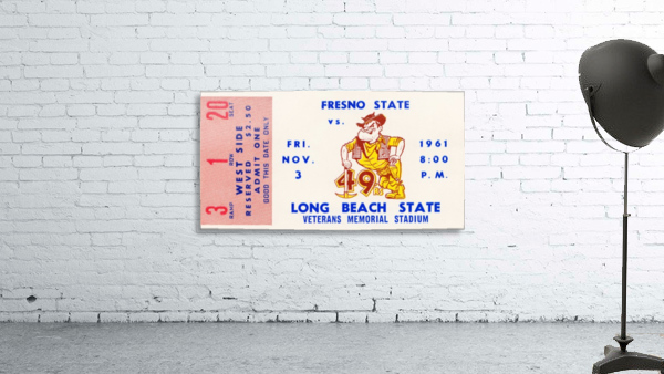 1961 long beach state fresno state football ticket art