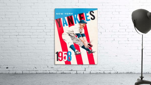 1958 new york yankees vintage baseball art