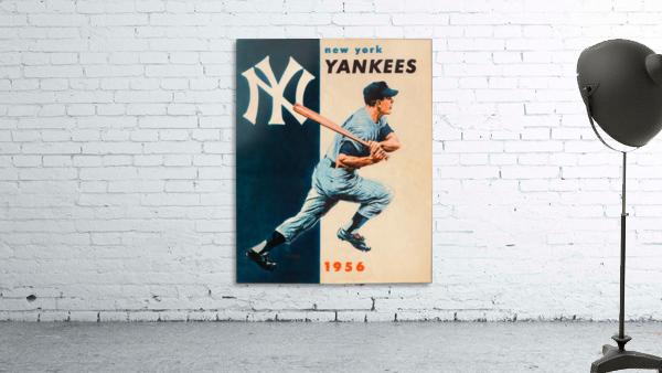 1956 new york yankees vintage baseball art