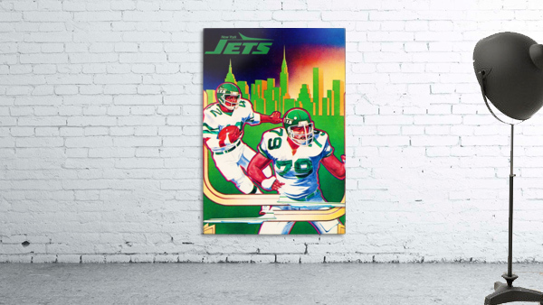 1981 new york jets nyc cityscape football poster