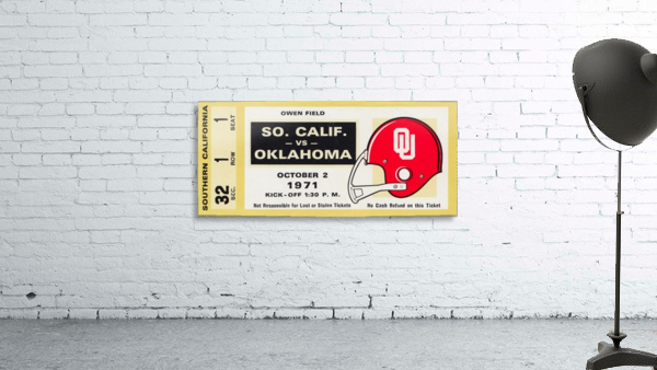 1971 usc trojans oklahoma sooners owen field norman ok football ticket wall art