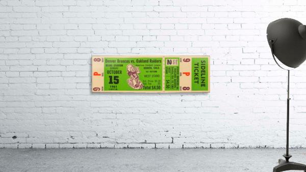 1961 oakland raiders denver broncos afl ticket stub art