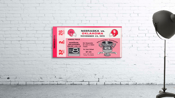 1973 oklahoma sooners nebraska cornhuskers owen field norman college football ticket art