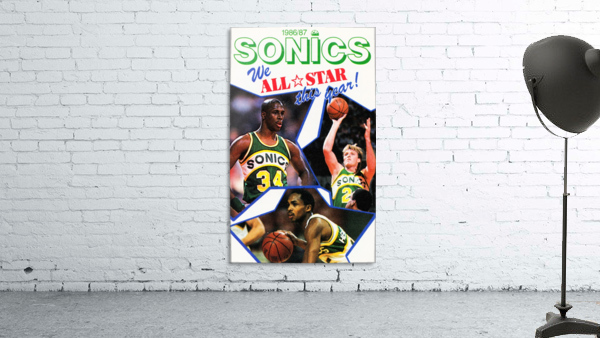 1987 seattle supersonics nba all star game poster