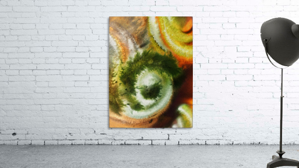 Fall Vortex Of Green Yellow Orange And Brown Abstract Watercolor
