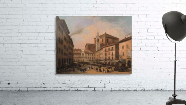 Piazza della Vittoria a Pavia olio su tela