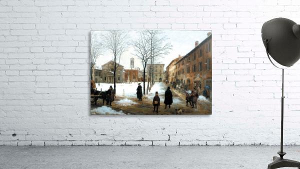 Veduta della Piazza Borromeo in Milano con neve cadente