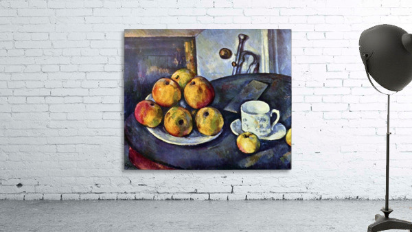 Still life with a bottle and apple cart by Cezanne