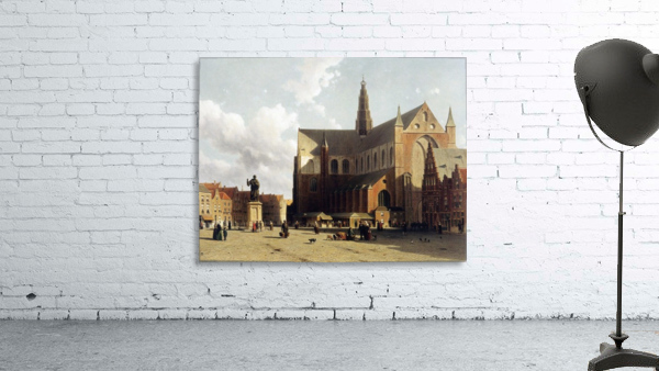 View of the Grote Markt, Haarlem, with numerous townsfolk strolling along the statue of Laurens Jansz