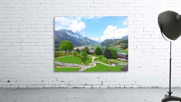 The  Saane valley in Switzerland Surrounded by the Alps
