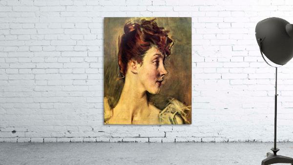 Portrait of Countess de Leusse, detail by Giovanni Boldini