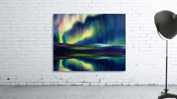 Aurora Borealis Magic Reflections Northern Lake Lights Watercolor