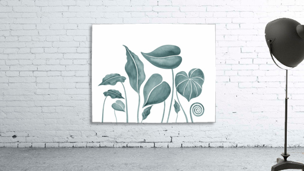 Tropical Leaves Teal Gray Botanical Foliage Watercolor