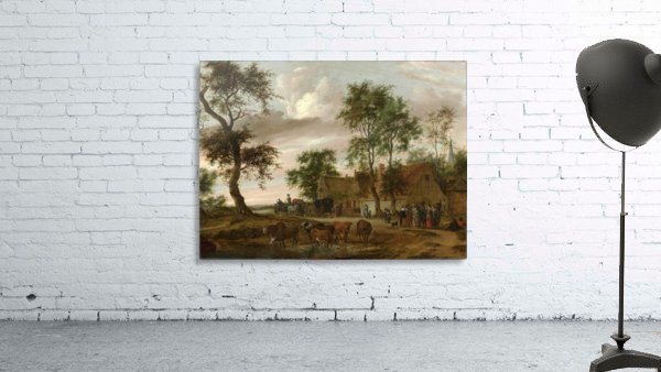 A village landscape with carriages outside an inn