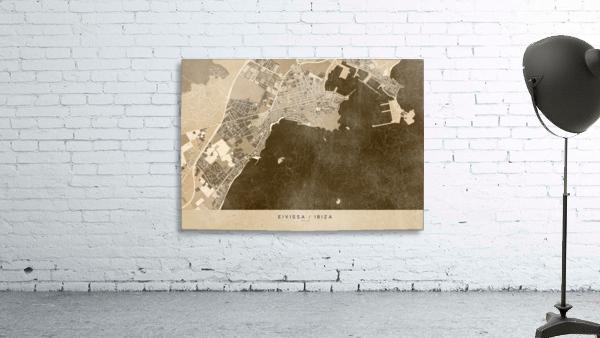 Sepia vintage map of Ibiza Spain