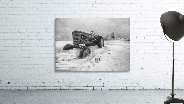 Winter Snow  Mountain Farm And Old Tractor