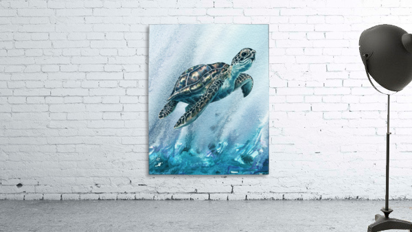 Watercolor Giant Turtle In Abstract Seaweed And Water XI