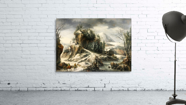 Winter landscape with a cavern and travellers