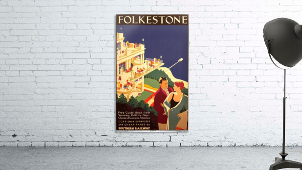 English Art Deco Period Travel Poster for Folkestone by Danvers, 1934