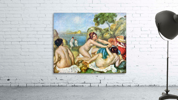 Three bathing girls with crab by Renoir