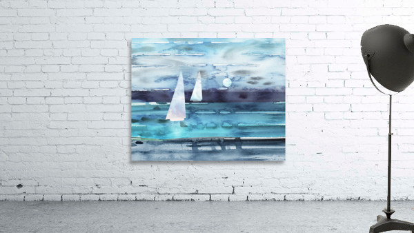 Beach House Art Sailboats At The Ocean Shore Seascape Painting XII
