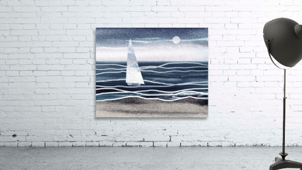 Beach House Art Sailboat At The Ocean Shore Seascape Painting XIII