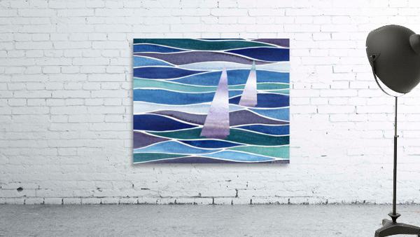 Sailboats At The Ocean Shore Seascape Painting Beach House Art Decor XIV