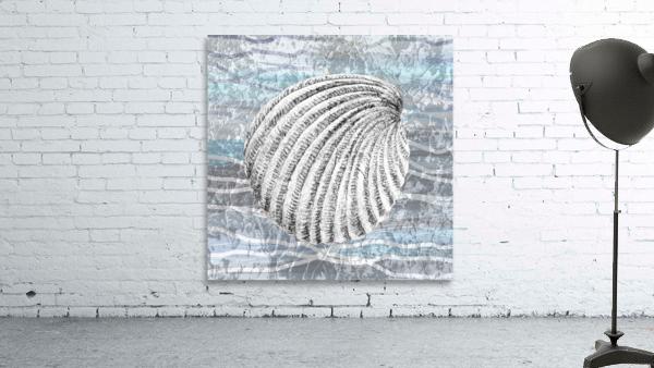 Silver Gray Seashell On Ocean Shore Waves And Rocks II