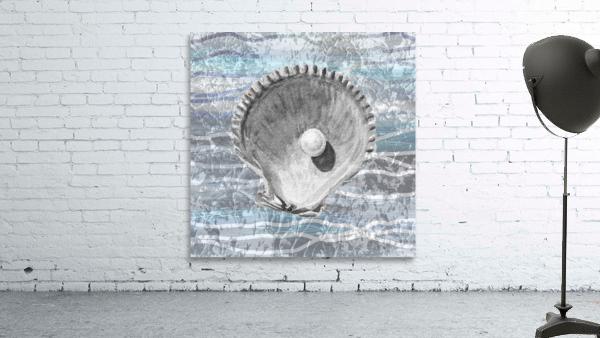 Silver Gray Seashell On Ocean Shore Waves And Rocks IV