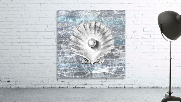 Silver Gray Seashell On Ocean Shore Waves And Rocks V