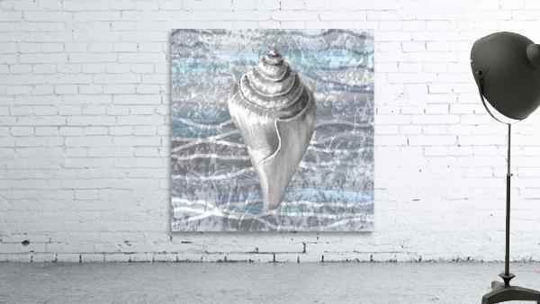 Silver Gray Seashell On Ocean Shore Waves And Rocks VII