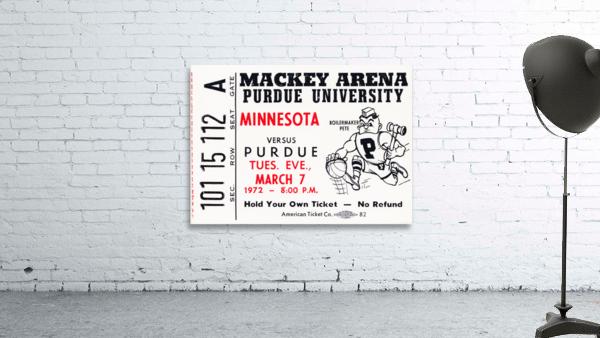 1972 Purdue Basketball Ticket Canvas