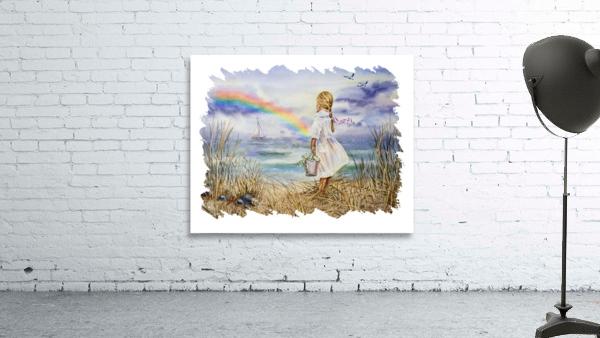 Girl Ocean Rainbow Boat And Birds Beach House Style Art