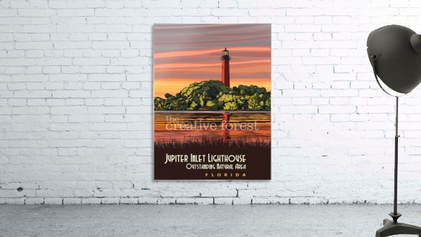 Jupiter Inlet Lighthouse, Vintage Florida Travel Reproduction