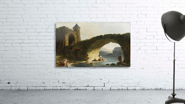 A Capriccio River Landscape With Washerwomen Near a Ruined Bridge