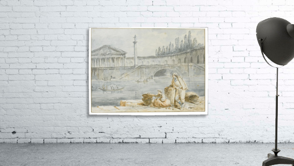 A man smoking a pipe and a woman with baskets looking out at rowing boats