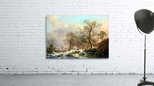Winter landscape with figures near lake