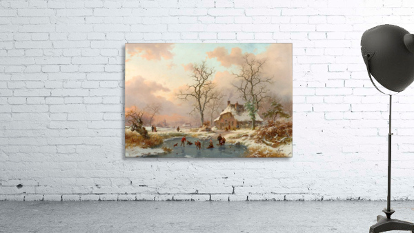 Winter landscape with figures on the frozen lake