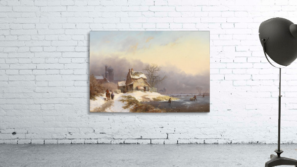 Winter landscape with figures near lake and church in background