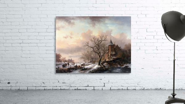 Castle in a Winter Landscape and Skaters on a Fozen River