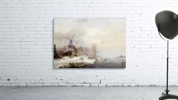 Winter landschap met gehucht, windmolen en figuren