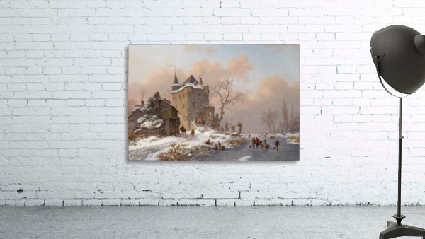 Skaters near a castle on a wintry day