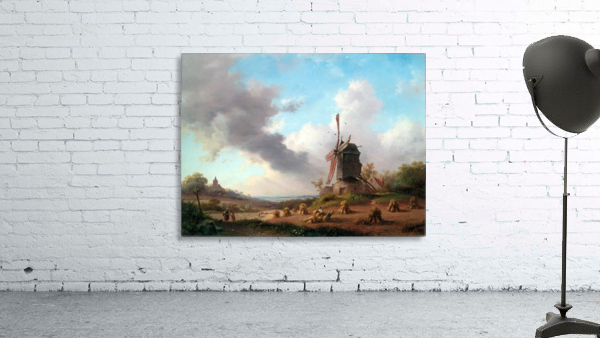 Summer Landscape with Harvesting Farmers