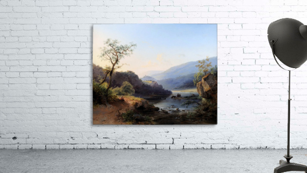 Landscape with lake and figures