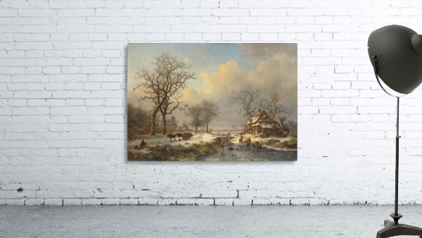 Winter landscape with children playing on the ice