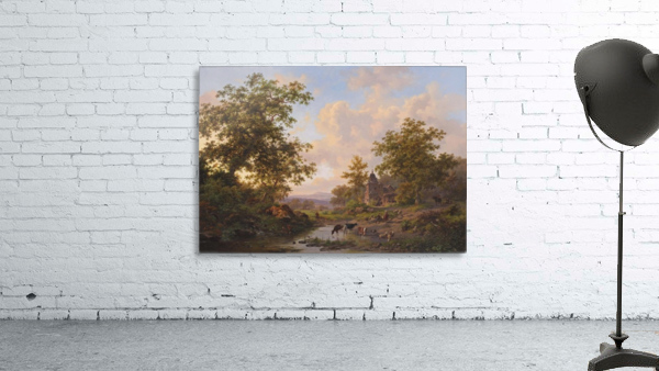 A sunlit river landscape with shepherds resting near a stream