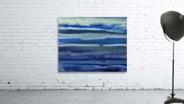 Ocean And Sea Beach Coastal Art Organic Watercolor Abstract Lines III