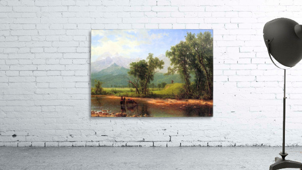 Wind River Mountains, landscape in Wyoming by Bierstadt