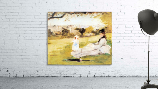 Woman and child sitting in a field by Morisot