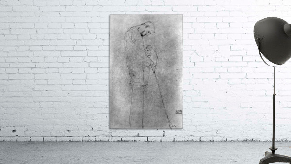 Woman and man standing in profile by Klimt